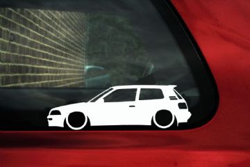 2x Low car outline stickers Toyota Corolla GTi / GT Twin Cam AE92